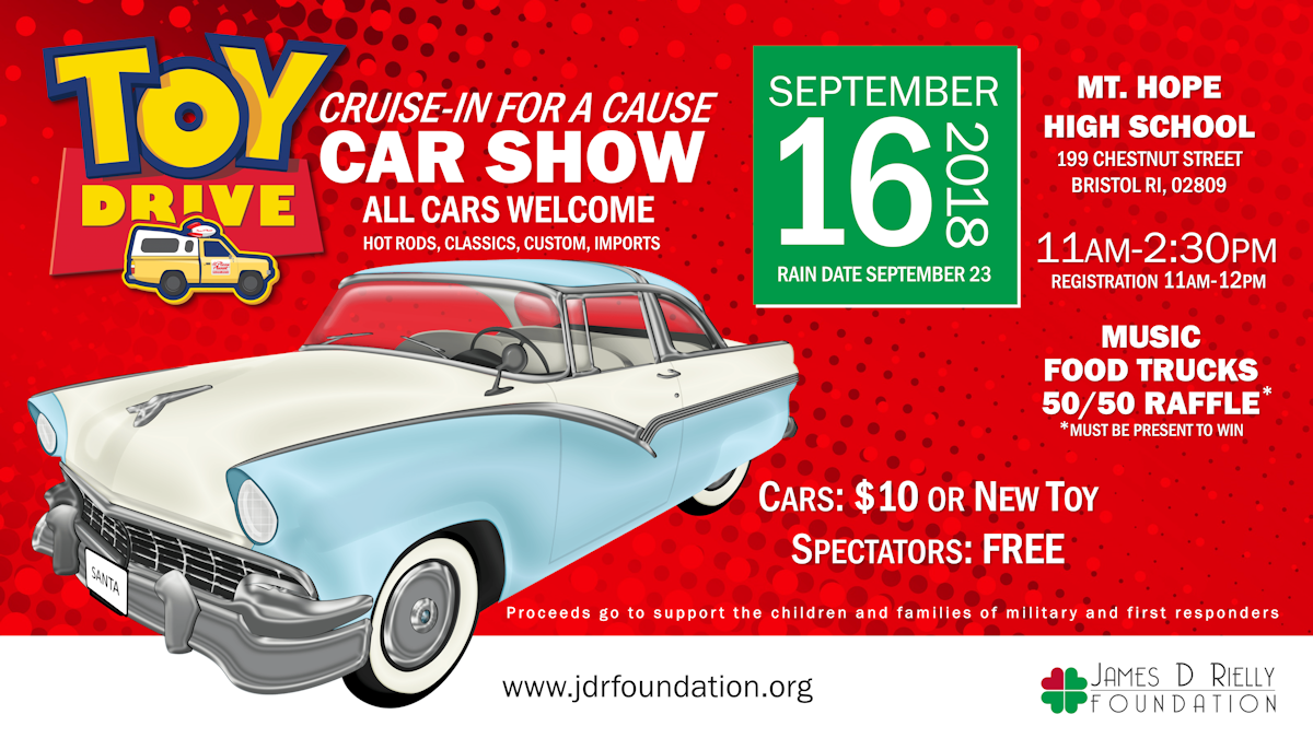 "Cruise-In for a Cause Car Show"" to benefit the children and families of the military and first responder"