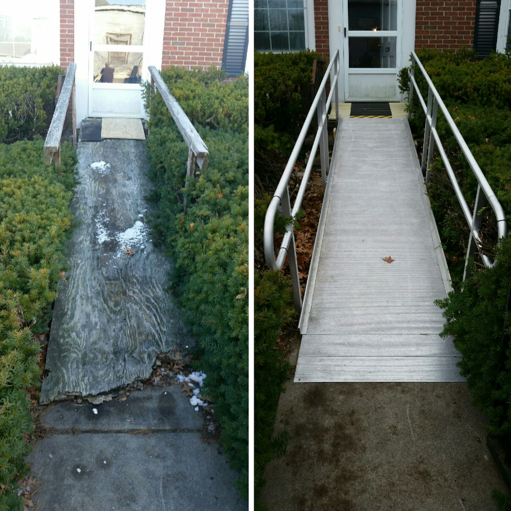 Before and after pictures of handicap ramp built for U.S. Veteran.